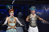 London, UK. 2 March 2016. Rebecca Bottone as Queen Tye and Anthony Roth Costanzo as Akhnaten. English National Opera (ENO) dress rehearsal of the Philip Glass opera Akhnaten at the London Coliseum. 7 performances from 4  to 18 March 2016. Directed by Phelim McDermott with Anthony Roth Costanzo as Akhnaten, Emma Carrington as Nefertiti, Rebecca Bottone as Queen Tye, James Cleverton as Horemhab, Clive Bayley as Aye, Colin Judson as High Priest of Amon and Zachary James as Scribe. Skills performances by Gandini Juggling.