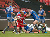 June 4th 2017, AJ Bell Stadium, Salford, Greater Manchester, England;  Rugby Super League Salford Red Devils versus Wakefield Trinity;  Kris Welham of Salford is tackled by Mason Coton-Brown and Anthony England of Wakefield Trinity