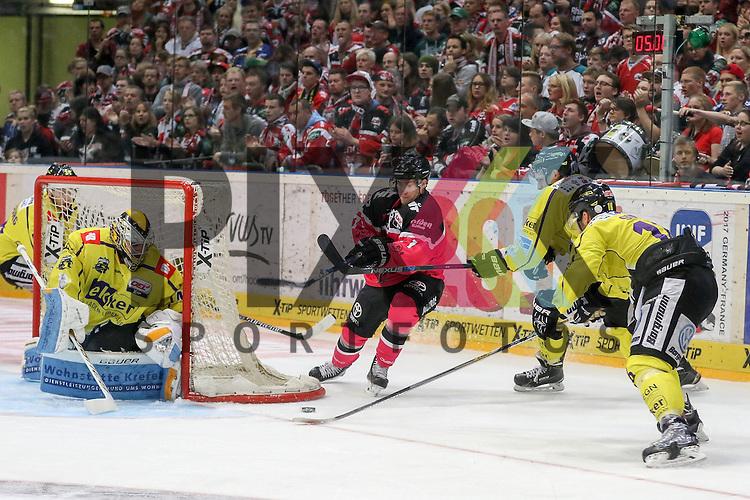 Koelns Andreas Falk (Nr.71)  mit der Chance gegen Krefelds Patrick Klein (Nr.29) verteidigt von Krefelds Thomas Supis (Nr.16)  beim Spiel in der DEL, Koelner Haie - Krefeld Pinguine.<br /> <br /> Foto &copy; PIX-Sportfotos *** Foto ist honorarpflichtig! *** Auf Anfrage in hoeherer Qualitaet/Aufloesung. Belegexemplar erbeten. Veroeffentlichung ausschliesslich fuer journalistisch-publizistische Zwecke. For editorial use only.