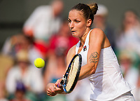 Karolina Pliskova of The Czech Republic in action during her defeat by Magdalena Rybarikova of Slovakia in their Ladies' Singles Second Round Match today - Rybarikova def Pliskova 3-6, 7-5, 6-2<br /> <br /> Photographer Ashley Western/CameraSport<br /> <br /> Wimbledon Lawn Tennis Championships - Day 4 - Thursday 6th July 2017 -  All England Lawn Tennis and Croquet Club - Wimbledon - London - England<br /> <br /> World Copyright &not;&uml;&not;&copy; 2017 CameraSport. All rights reserved. 43 Linden Ave. Countesthorpe. Leicester. England. LE8 5PG - Tel: +44 (0) 116 277 4147 - admin@camerasport.com - www.camerasport.com