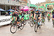 6th September 2017, Mansfield, England; OVO Energy Tour of Britain Cycling; Stage 4, Mansfield to Newark-On-Trent;  Caleb Ewan , the General Classification (GC) leader in green and other leaders start at the head of the race at Mansfield