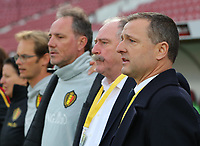20191008 CLUJ NAPOCA: Belgian head coach Ives Serneels is pictured singing the national anthem before the match between Belgium Women's National Team and Romania Women's National Team as part of EURO 2021 Qualifiers on 8th of October 2019 at CFR Stadium, Cluj Napoca, Romania. PHOTO SPORTPIX | SEVIL OKTEM