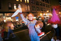 "A person dressed up as Charles Lee Ray, or ""Chucky"" from the horror movie series of the same name, in New York's 35th Annual Village Halloween Parade."