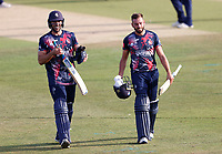 Grant Stewart (L) and Jack Leaning of Kent celebrate their victory during Kent Spitfires vs Essex Eagles, Vitality Blast T20 Cricket at The Spitfire Ground on 18th September 2020