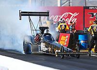 Feb 24, 2017; Chandler, AZ, USA; NHRA top fuel driver Shawn Reed during qualifying for the Arizona Nationals at Wild Horse Pass Motorsports Park. Mandatory Credit: Mark J. Rebilas-USA TODAY Sports