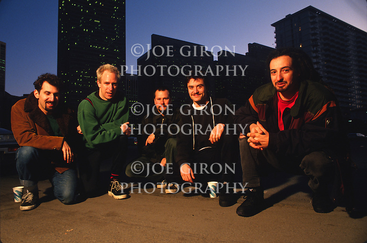 Various portraits of the rock band, Faith No More