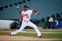 Peoria Chiefs relief pitcher Frederis Parra (36) delivers a pitch during a game against the West Michigan Whitecaps on May 8, 2017 at Dozer Park in Peoria, Illinois.  West Michigan defeated Peoria 7-2.  (Mike Janes/Four Seam Images)