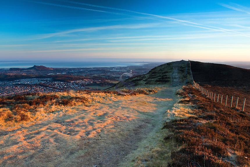Edinburgh, Arthur's Seat and the East Lothian Coastline from Caerketton, The Pentland Hills, The Pentland Hills Regional Park, Lothian