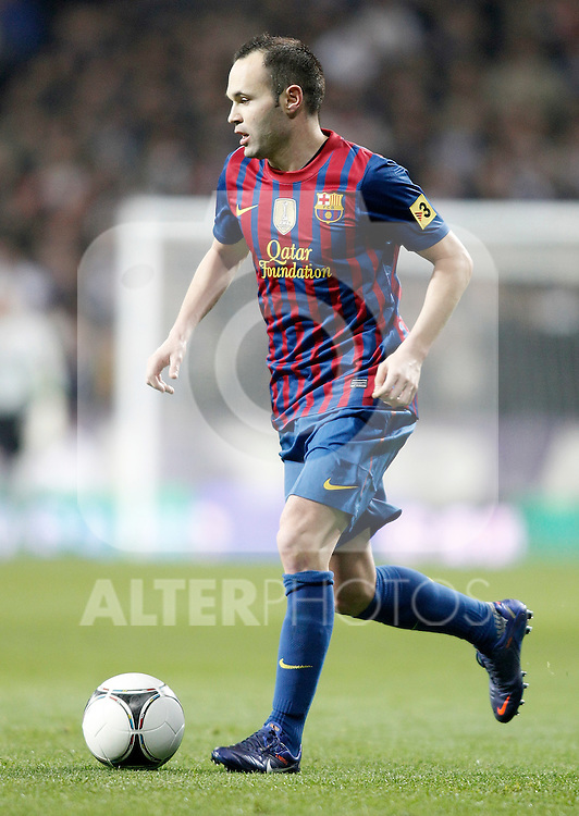 Barcelona's Andres Iniesta during King's Cup Match. January 18, 2012. (ALTERPHOTOS/Alvaro Hernandez)