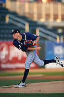 New Hampshire Fisher Cats starting pitcher Casey Lawrence (26) follows through on a pitch during a game against the Harrisburg Senators on July 21, 2015 at Metro Bank Park in Harrisburg, Pennsylvania.  New Hampshire defeated Harrisburg 7-1.  (Mike Janes/Four Seam Images)