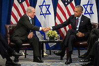 """(L to R) Prime Minister of Israel Benjamin Netanyahu shakes hands with United States President Barack Obama during a bilateral meeting at the Lotte New York Palace Hotel, September 21, 2016 in New York City. Last week, Israel and the United States agreed to a $38 billion, 10-year aid package for Israel. Obama is expected to discuss the need for a """"two-state solution"""" for the Israeli-Palestinian conflict. Photo Credit: Drew Angerer/CNP/AdMedia"""