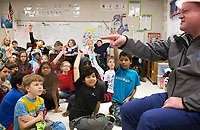 NWA Democrat-Gazette/CHARLIE KAIJO Mayor Greg Hines (right) asks questions to 4th graders, Friday, March 2, 2018 at Bellview Elementary School in Rogers.<br /><br />Bellview Elementary School celebrated Read Across America with some special guest readers
