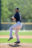 New York Yankees pitcher Chad Taylor (21) during a minor league spring training game against the Pittsburgh Pirates on March 28, 2015 at Pirate City in Bradenton, Florida.  (Mike Janes/Four Seam Images)