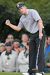 23rd September, 2006. .European Ryder Cup Team player Luke Donald sinks his putt on the 2nd green during the afternoon fourball session of the second day of the 2006 Ryder Cup at the K Club in Straffan, County Kildare in the Republic of Ireland..Photo: Eoin Clarke/ Newsfile.