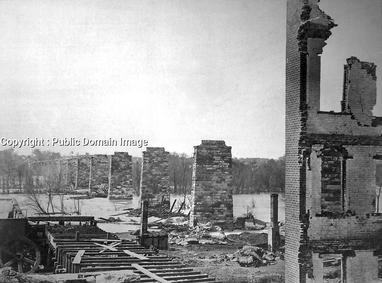 Ruins of Richmond and Petersburg Railroad Bridge, Across the James. Richmond, April 1865. Alexander Gardner. (War Dept.)<br /> Exact Date Shot Unknown<br /> NARA FILE #: 165-SB-88<br /> WAR & CONFLICT BOOK #:  248