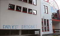 Fussball 1. Bundesliga  Saison  2012/2013   17.08.2012   An der Hauswand nahe dem Eingang der FC Bayern Muenchen Geschaeftsstelle an der Saebener Strasse der Spruch: DANKE DROGBA!  Damit sind die Tore gegen den FC Bayern von Didier Drogba (FC Chelsea)  im Champions League Finale 2012 gemeint.