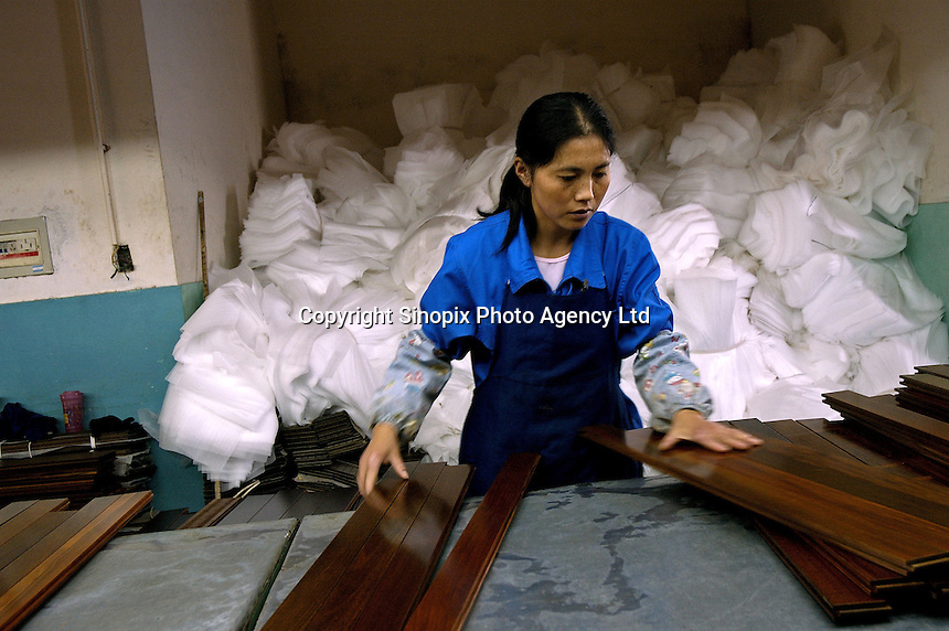 Female worker in Hong Qi wood floor factory, a private firm which produces floor boards for the booming domestic market and for export to Europe (including UK) and the United States, using wood imported from Asia and South America.