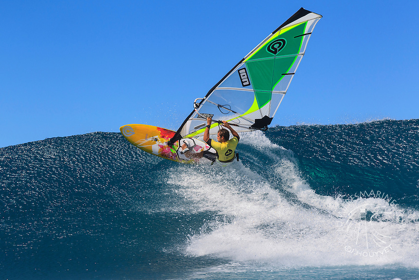 Marcilio Browne at the 6th and final stop of the 2012 American Windsurfing Tour (AWT), in Ho'okipa Beach Park (Maui, Hawaii, USA)