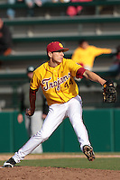 James Guillen (44) of the USC Trojans pitches against the Jacksonville Dolphins at Dedeaux Field on February 19, 2012 in Los Angeles,California. USC defeated Jacksonville 4-3.(Larry Goren/Four Seam Images)