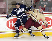 Scott Pavelski (UNH - 11), Pat Mullane (BC - 11) - The Boston College Eagles defeated the visiting University of New Hampshire Wildcats 4-3 on Friday, January 27, 2012, in the first game of a back-to-back home and home at Kelley Rink/Conte Forum in Chestnut Hill, Massachusetts.