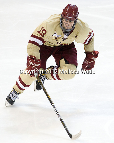 Chris Kreider (BC - 19) - The Boston College Eagles defeated the University of Minnesota Duluth Bulldogs 4-0 to win the NCAA Northeast Regional on Sunday, March 25, 2012, at the DCU Center in Worcester, Massachusetts.