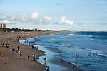View of Santa Monica beach from pier looking south towards Venice beach.