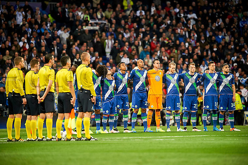 12.04.2016. Madrid, Spain. UEFA Champions League, quarterfinal second leg. Real Madrid versus VfL Wolfsburg.  Teams line up for honours