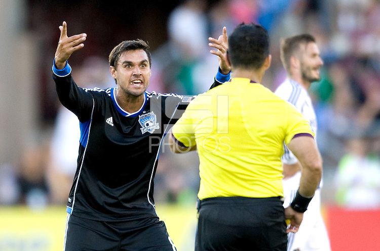 Chris Wondolowski of Earthquakes argues with the referee about a bad call during the game against Galaxy at Stanford Stadium in Palo Alto, California on June 30th, 2012.  San Jose Earthquakes defeated LA Galaxy, 4-3.