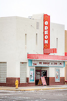 The Odean Theater in the Route 66 town of Tucumcari New Mexico was built in 1935 in an Art Deco style. The theater is still in operation today and plays first run movies and was listed on the Register of Historic Places in 2008.