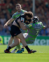 Exeter Chiefs' Alec Hepburn is tackled by Newcastle Falcons' Gary Graham<br /> <br /> Photographer Bob Bradford/CameraSport<br /> <br /> Aviva Premiership Play-Off Semi Final - Exeter Chiefs v Newcastle Falcons - Saturday 19th May 2018 - Sandy Park - Exeter<br /> <br /> World Copyright &copy; 2018 CameraSport. All rights reserved. 43 Linden Ave. Countesthorpe. Leicester. England. LE8 5PG - Tel: +44 (0) 116 277 4147 - admin@camerasport.com - www.camerasport.com