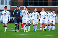 Josh Gould of Swansea City u23s' speaks to Brandon Cooper of Swansea City u23s' during the Premier League 2 Division Two match between Swansea City u23s and Middlesbrough u23s at Swansea City AFC Training Academy  in Swansea, Wales, UK. Monday 13 January 2020.