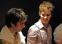 Jesse and Jordan Laz of Brooklyn Garage Pop rockers Locksley backstage after performance at the Fillmore Theatre , Irving Plaza NYC ( June 15, 2008)