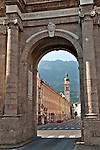 Triumphal Arch (Triumphforte) with Old Town and the Karwendel Alps in the background