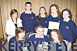 Congratulations - Award winning students from Colaiste Na Sceilge, Caherciveen, with their silver medals at The Kerry Education Service Student Awards Night on Friday Night in The Fels Point Hotel. Seated l/r Aoife Musgrave, Caherciveen, Donie O'Sullivan, Caherciveen and Sinead O'Sullivan, Waterville. Standing l/r Clodagh Musgrave, Caherciveen, Jerry Moran, Renard, Edel Ni? Bhraona?in, The Glen, Catriona Morris, Foile More and Susan O'Connor, Achatubrid.   Copyright Kerry's Eye 2008