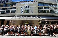 Spectators fill the streets. 2011 Wellington IRB sevens parade in the Wellington CBD, Wellington, New Zealand on Thursday, 3 February 2011. Photo: Dave Lintott / lintottphoto.co.nz