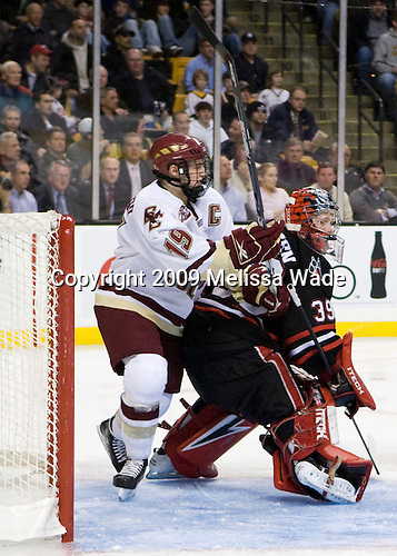 Brock Bradford (Boston College - 19), Brad Thiessen (Northeastern - 39) - The Northeastern University Huskies defeated the Boston College Eagles 6-1 in their opening 2009 Beanpot game at TD Banknorth Garden in Boston, MA.