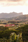 MAURITIUS, Chamarel, an elevated view of the Rhumerie de Chamarel and the surrounding landscape