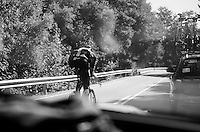 Christian Knees (DEU/SKY) overtaking the SKY teamcar to rejoin the other riders<br /> <br /> restday 2 in Burgos<br /> stage 17 TT recon ride<br /> 2015 Vuelta &agrave; Espagna