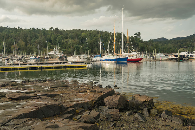 This quaint little harbor on Mt Desert Island remains tranquil just moments before a rain squall moves through.