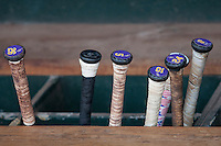LSU Tigers baseball bats on June 18, 2015 at TD Ameritrade Park in Omaha, Nebraska. (Andrew Woolley/Four Seam Images)