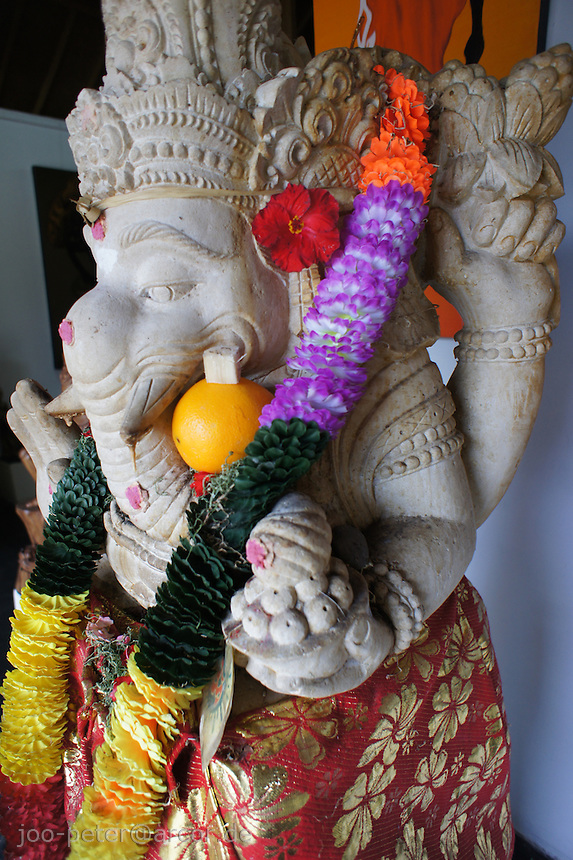worshipped Ganesha sculpture in the entrance of a shop in Ubud Bali, archipelago Indonesia, 2010