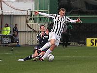 David Barron fouled by Iain Vigurs in the St Mirren v Ross County Clydesdale Bank Scottish Premier League match played at St Mirren Park, Paisley on 19.1.13.