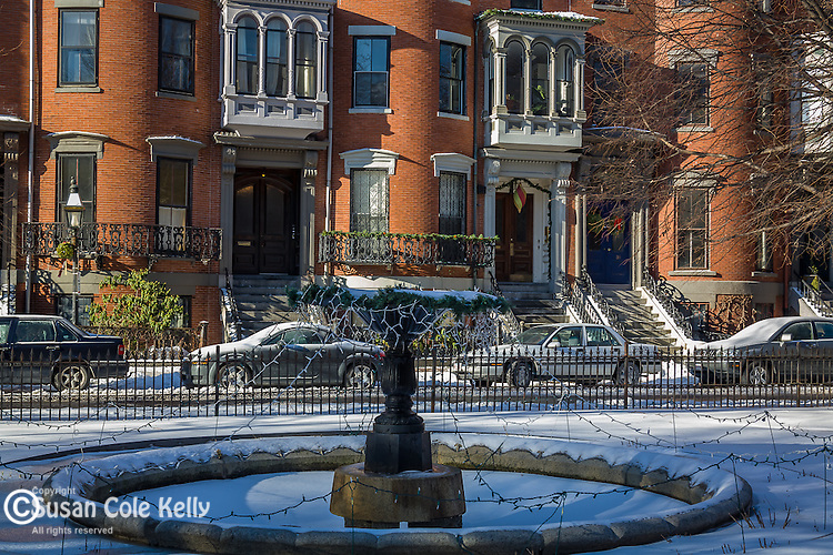 Winter frosts the Victorian homes in Union Square, in Bostons chic South End neighborhood