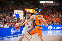 VALENCIA, SPAIN - June 11: Gillem Vives and Sergio Rodríguez during SEMI FINAL ENDESA LEAGUE match between Valencia Basket Club and Real Madrid Basket at Fonteta Stadium on June 11, 2015 in Valencia, Spain