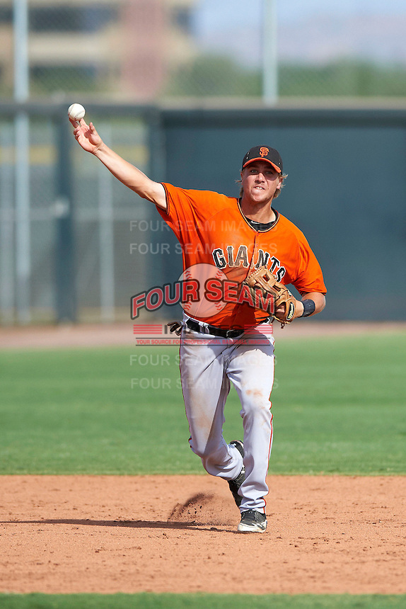 San Francisco Giants minor league infielder Mitchell Delfino #28 during an instructional league game against the Colorado Rockies at the Salt River Flats Complex on October 4, 2012 in Scottsdale, Arizona.  (Mike Janes/Four Seam Images)