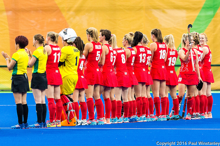 Hollie Webb #20 of Great Britain acknowledges the applause for her 150th cap before Argentina vs Great Britain in women's Pool B game  at the Rio 2016 Olympics at the Olympic Hockey Centre in Rio de Janeiro, Brazil.