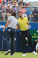 Robert Rock (ENG) and Rafa Cabrera Bello (ESP) on the 18th during Round 4 of the Irish Open at LaHinch Golf Club, LaHinch, Co. Clare on Sunday 7th July 2019.<br /> Picture:  Thos Caffrey / Golffile<br /> <br /> All photos usage must carry mandatory copyright credit (© Golffile | Thos Caffrey)