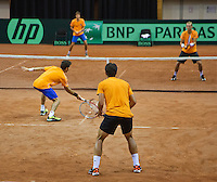 11-sept.-2013,Netherlands, Groningen,  Martini Plaza, Tennis, DavisCup Netherlands-Austria, Practice doubles,   <br /> Photo: Henk Koster