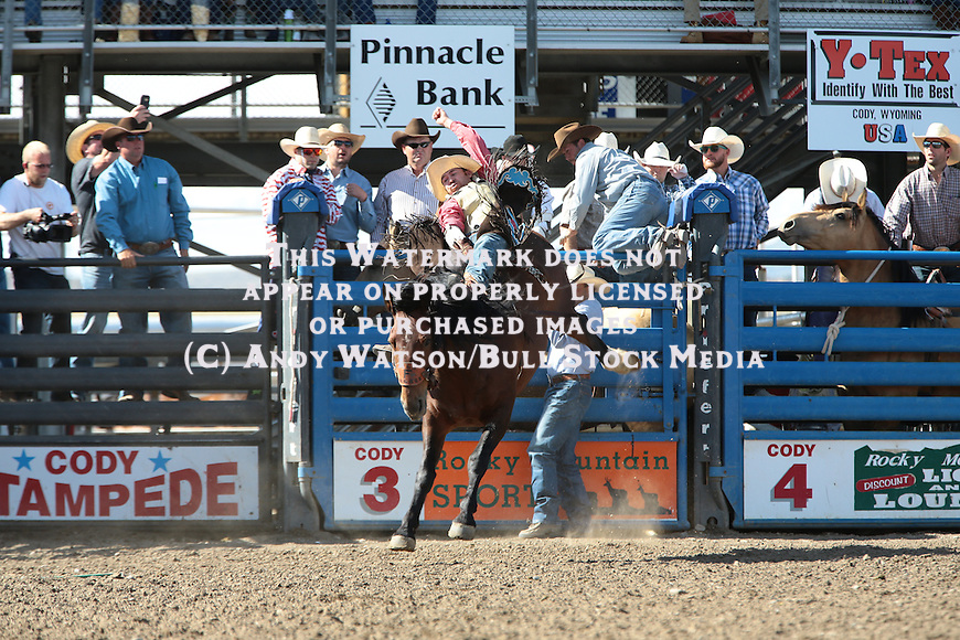 Joel Schlegel, Full Baggage, during the fourth performance of the Cody Stampede Rodeo. Photo by Andy Watson. All Photos (C) Watson Rodeo Photos, INC. Any use must have written Permission.