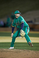 Notre Dame Fighting Irish relief pitcher Mitch Megias (30) in action against the Wake Forest Demon Deacons at David F. Couch Ballpark on March 10, 2019 in  Winston-Salem, North Carolina. The Fighting Irish defeated the Demon Deacons 8-7 in 10 innings in game two of a double-header. (Brian Westerholt/Four Seam Images)